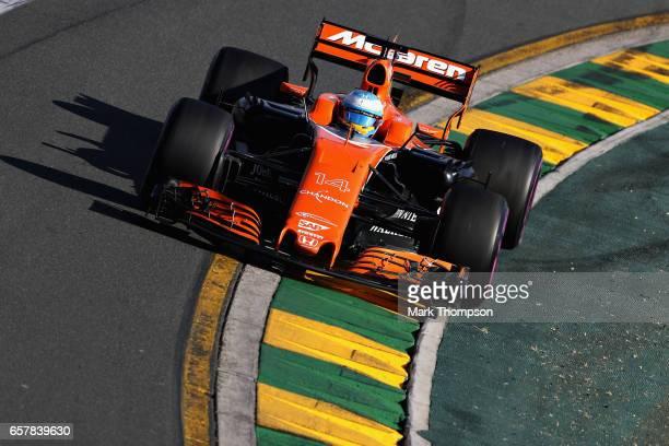 Fernando Alonso of Spain driving the McLaren Honda Formula 1 Team McLaren MCL32 on track during the Australian Formula One Grand Prix at Albert Park...