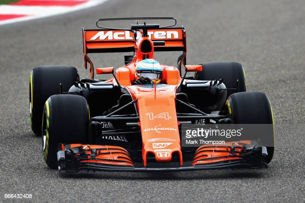 Fernando Alonso of Spain driving the McLaren Honda Formula 1 Team McLaren MCL32 on track during the Formula One Grand Prix of China at Shanghai...