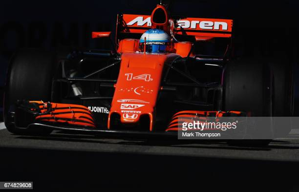 Fernando Alonso of Spain driving the McLaren Honda Formula 1 Team McLaren MCL32 on track during qualifying for the Formula One Grand Prix of Russia...