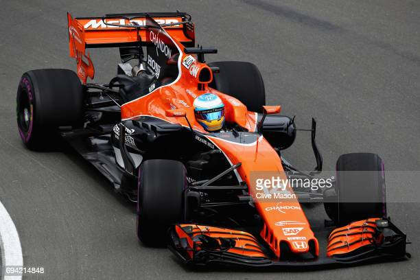 Fernando Alonso of Spain driving the McLaren Honda Formula 1 Team McLaren MCL32 on track during practice for the Canadian Formula One Grand Prix at...