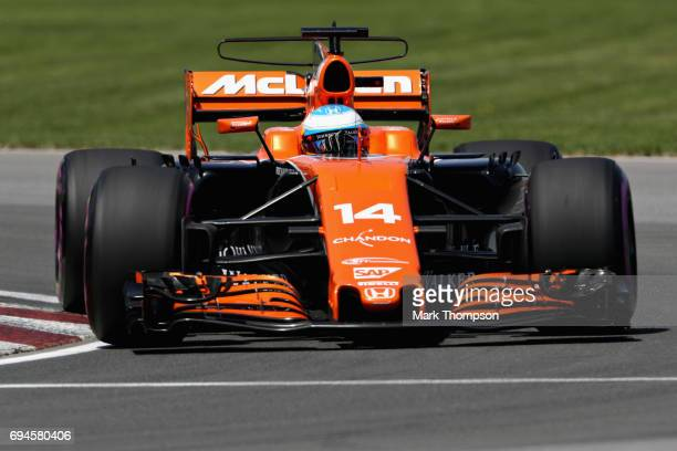 Fernando Alonso of Spain driving the McLaren Honda Formula 1 Team McLaren MCL32 on track during qualifying for the Canadian Formula One Grand Prix at...