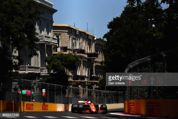 Fernando Alonso of Spain driving the McLaren Honda Formula 1 Team McLaren MCL32 on track during practice for the European Formula One Grand Prix at...