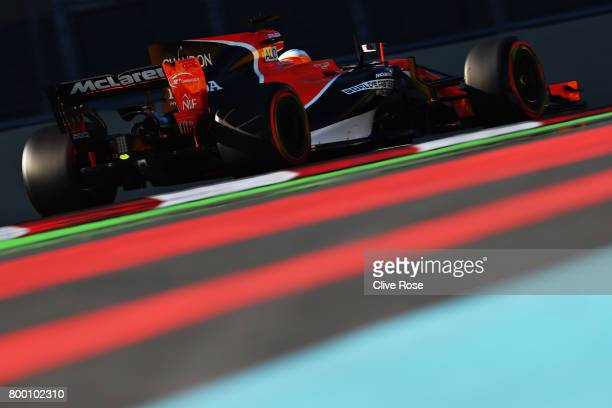 Fernando Alonso of Spain driving the McLaren Honda Formula 1 Team McLaren MCL32 on track during practice for the Azerbaijan Formula One Grand Prix at...