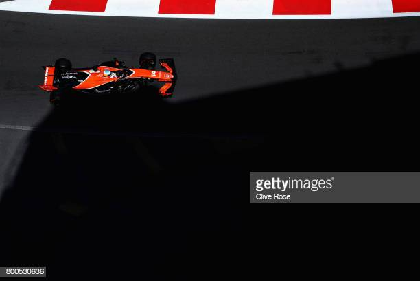 Fernando Alonso of Spain driving the McLaren Honda Formula 1 Team McLaren MCL32 on track during final practice for the Azerbaijan Formula One Grand...