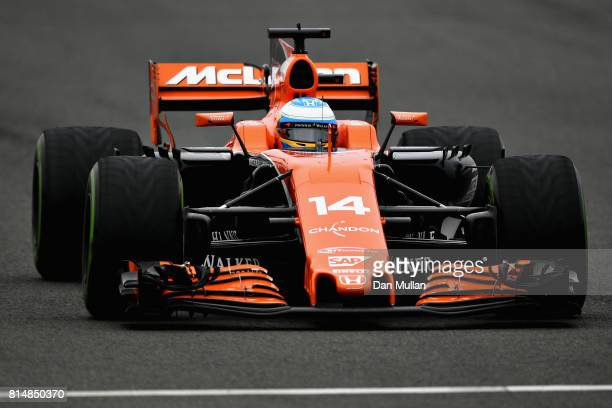 Fernando Alonso of Spain driving the McLaren Honda Formula 1 Team McLaren MCL32 on track during qualifying for the Formula One Grand Prix of Great...