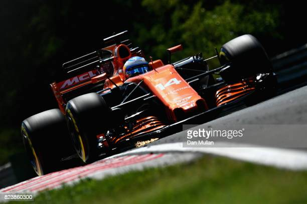 Fernando Alonso of Spain driving the McLaren Honda Formula 1 Team McLaren MCL32 on track during practice for the Formula One Grand Prix of Hungary at...