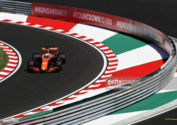Fernando Alonso of Spain driving the McLaren Honda Formula 1 Team McLaren MCL32 on track during qualifying for the Formula One Grand Prix of Hungary...