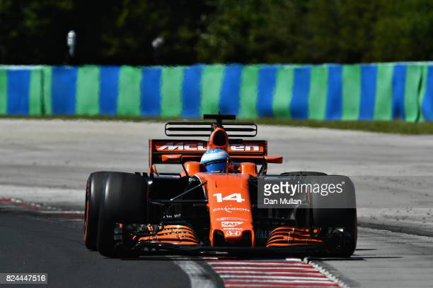 Fernando Alonso of Spain driving the McLaren Honda Formula 1 Team McLaren MCL32 on track during the Formula One Grand Prix of Hungary at Hungaroring...