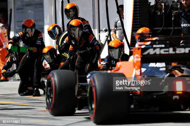 Fernando Alonso of Spain driving the McLaren Honda Formula 1 Team McLaren MCL32 makes a pit stop for new tyres during the Formula One Grand Prix of...