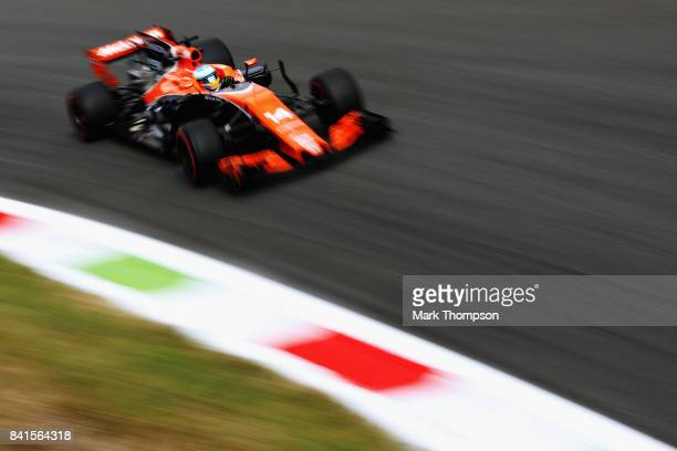 Fernando Alonso of Spain driving the McLaren Honda Formula 1 Team McLaren MCL32 on track during practice for the Formula One Grand Prix of Italy at...