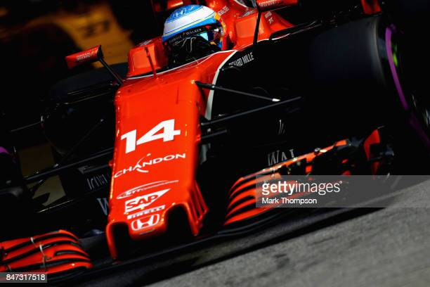 Fernando Alonso of Spain driving the McLaren Honda Formula 1 Team McLaren MCL32 on track during practice for the Formula One Grand Prix of Singapore...