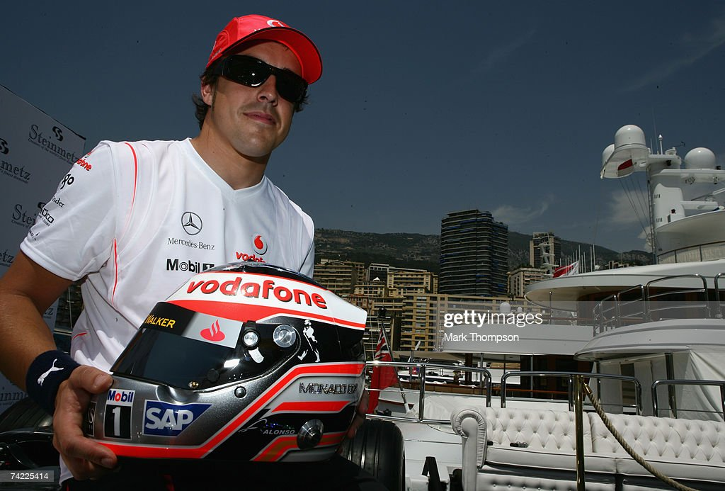 Fernando Alonso of team McLaren Mercedes poses on a yacht in Monaco harbour after attending the launch of the Steinmetz diamonds that will be on the...