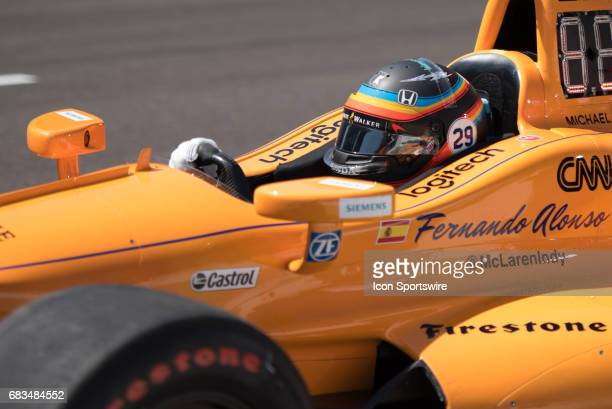 Fernando Alonso on opening day of practice for the 101st Indianapolis on May 15 at the Indianapolis Motor Speedway in Indianapolis Indiana