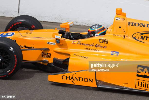 Fernando Alonso on track during his first test on May 03 at the Indianapolis Motor Speedway in Speedway Indiana