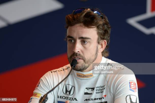 Fernando Alonso speaking with the media on opening day of practice for the 101st Indianapolis on May 15 at the Indianapolis Motor Speedway in...