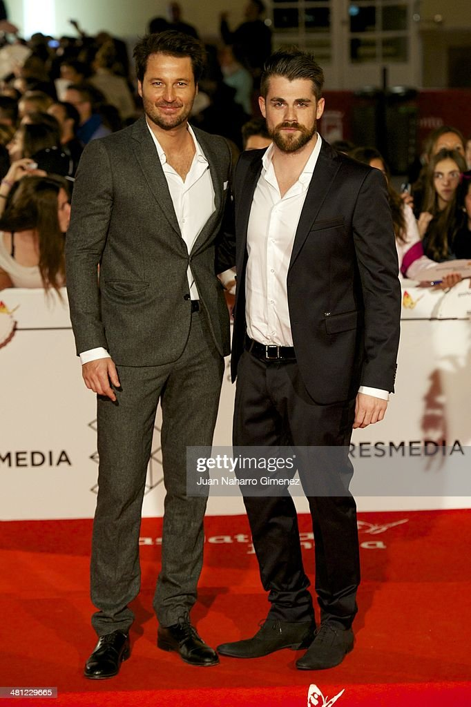 Fernando Andina (L) attends 'La Vida Inesperada' premiere during the 17th Malaga Film Festival 2014 at Teatro Cervantes on March 28, 2014 in Malaga, Spain.