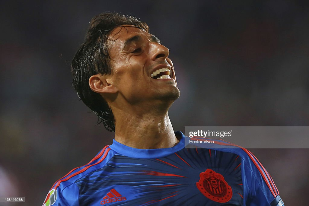 <a gi-track='captionPersonalityLinkClicked' href=/galleries/search?phrase=Fernando+Arce&family=editorial&specificpeople=697001 ng-click='$event.stopPropagation()'>Fernando Arce</a> of Chivas reacts during a match between Pachuca and Chivas as part of 4th round Apertura 2014 Liga MX at Hidalgo Stadium on August 09, 2014 in Pachuca, Mexico.