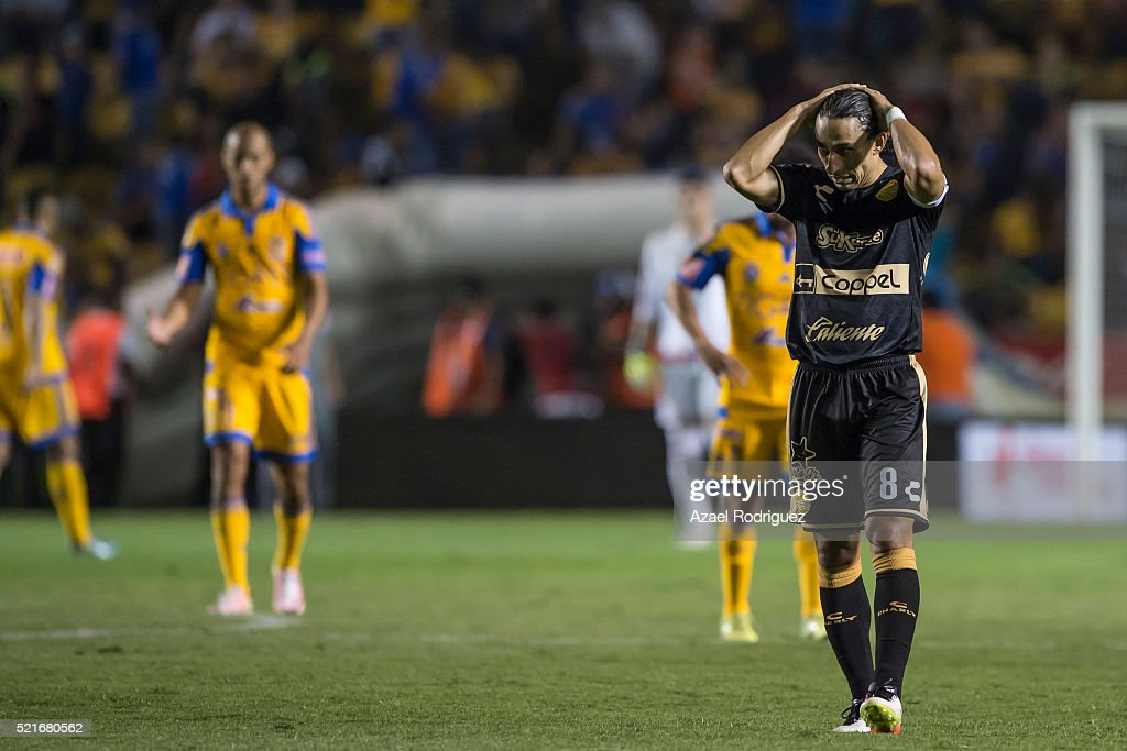 <a gi-track='captionPersonalityLinkClicked' href=/galleries/search?phrase=Fernando+Arce&family=editorial&specificpeople=697001 ng-click='$event.stopPropagation()'>Fernando Arce</a> of Dorados reacts at the end of the 14th round match between Tigres UANL and Dorados de Sinaloa as part of the Clausura 2016 Liga MX at Universitario Stadium on April 16, 2016 in Monterrey, Mexico.