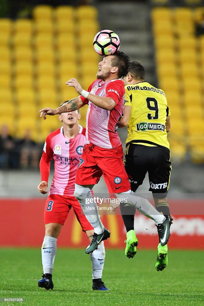 Fernando Brandan of Melbourne City and Kosta Barbarouses of the Wellington Phoenix during the round 20 A-League match between the Wellington and Melbourne City at Westpac Stadium on February 18, 2017 in Wellington, New Zealand.