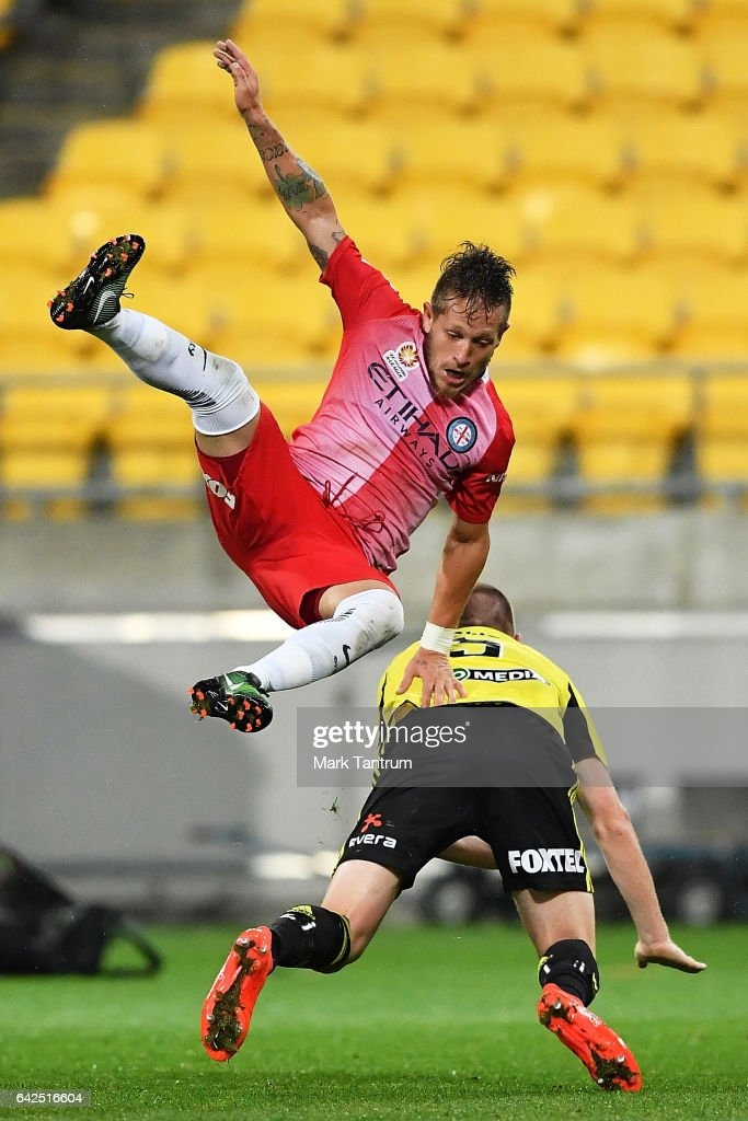 Fernando Brandan of Melbourne City and Ryan Lowry of the Wellington Phoenix during the round 20 A-League match between the Wellington and Melbourne City at Westpac Stadium on February 18, 2017 in Wellington, New Zealand.