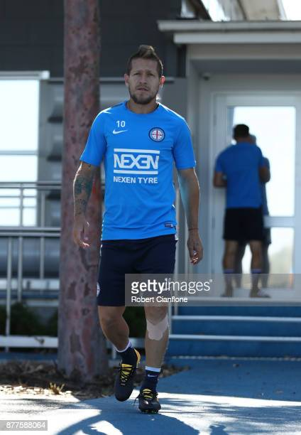 Fernando Brandan of the City aarives for a Melbourne City ALeague training session at City Football Academy on November 23 2017 in Melbourne Australia