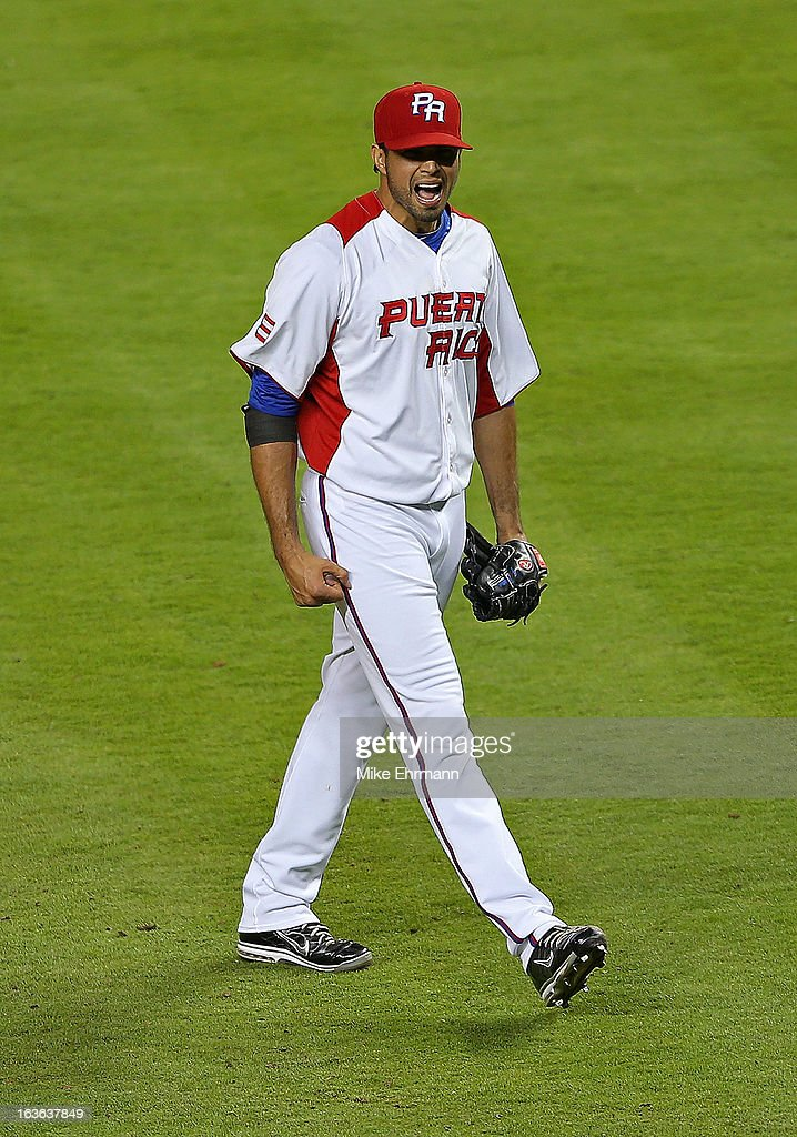Fernando Cabrera #38 of Puerto Rico celebrates after winning a World Baseball Classic second round game against Italy at Marlins Park on March 13, 2013 in Miami, Florida.