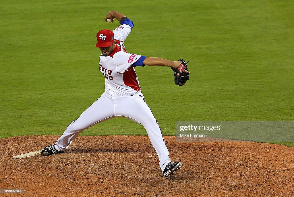 Fernando Cabrera #38 of Puerto Rico pitches during a World Baseball Classic second round game against Italy at Marlins Park on March 13, 2013 in Miami, Florida.