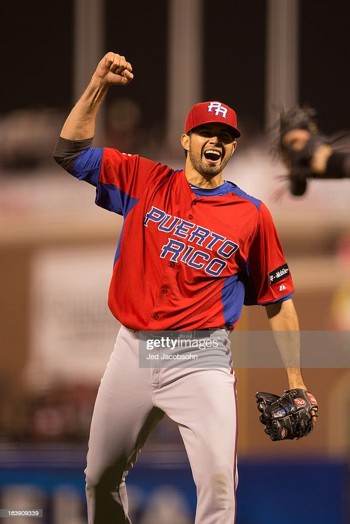 Fernando Cabrera #38 of Team Puerto Rico celebrates after the final out of the semi-final game against Team Japan in the championship round of the 2013 World Baseball Classic on Sunday, March 17, 2013 at AT&T Park in San Francisco, California.