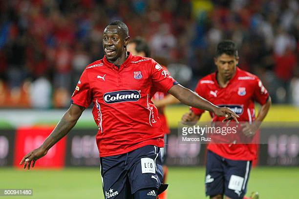 Fernando Caicedo of Medellin celebrates after scoring the winning goal during a first leg match between Independiente Medellin and Atletico Nacional...