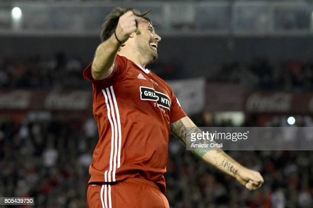 Fernando Cavenaghi celebrates during Fernando Cavenaghi's farewell match at Monumental Stadium on July 01 2017 in Buenos Aires Argentina