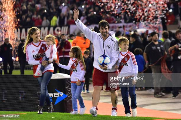 Fernando Cavenaghi enters to the pitch with his wife Soledad Gaynor and his sons Benjamín Sophie and Anna during Fernando Cavenaghi's farewell match...