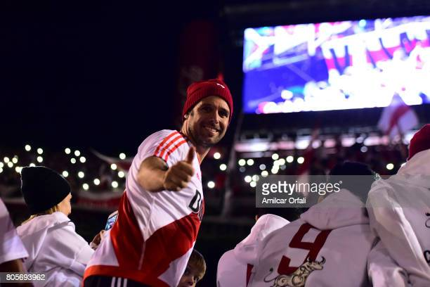 Fernando Cavenaghi greets fans during his farewell match at Monumental Stadium on July 01 2017 in Buenos Aires Argentina
