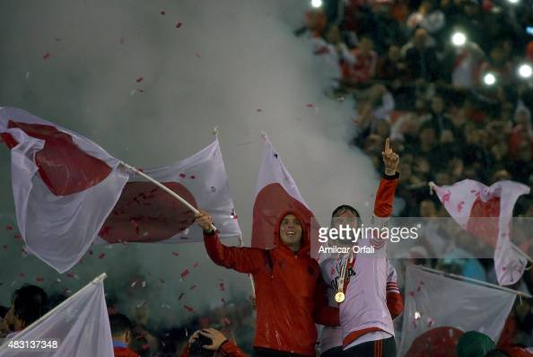 Fernando Cavenaghi of River celebrates victory after a second leg final match between River Plate and Tigres UANL as part of Copa Bridgestone...