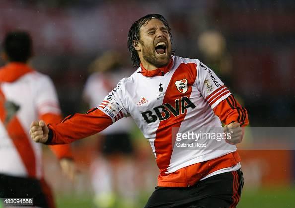 Fernando Cavenaghi of River Plate celebrates after winning a second leg final match between River Plate and Tigres UANL as part of Copa Bridgestone...