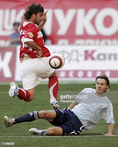 Fernando Cavenaghi of Spartak Moscow is tackled by Yashin Sergey of Saturn during the Football Russian League Championship match between Spartak...