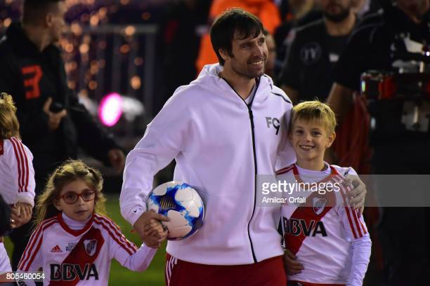 Fernando Cavenaghi poses with his sons Benjamín and Sophie during the Fernando Cavenaghi's farewell match at Monumental Stadium on July 01 2017 in...