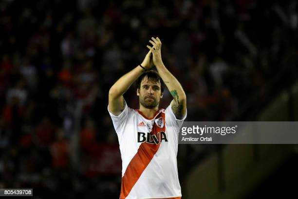 Fernando Cavenaghi shows gratitude to the fans during Fernando Cavenaghi's farewell match at Monumental Stadium on July 01 2017 in Buenos Aires...