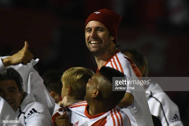 Fernando Cavenaghi smiles during the Fernando Cavenaghi's farewell match at Monumental Stadium on July 01 2017 in Buenos Aires Argentina