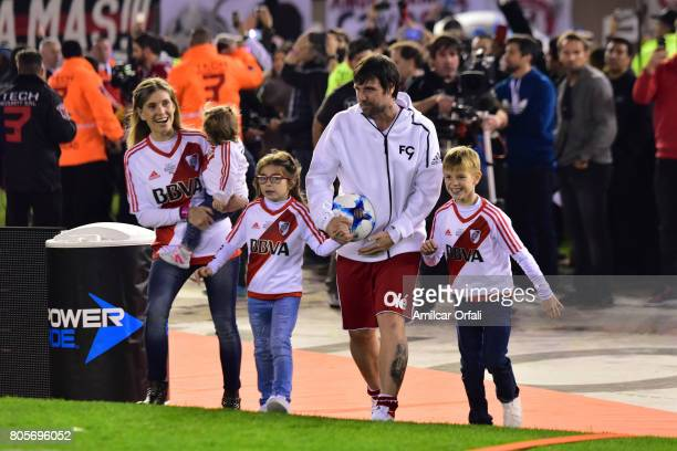 Fernando Cavenaghi walks onto the field with his wife Soledad Gaynor and his sons Benjamín Sophie and Anna during Fernando Cavenaghi's farewell match...