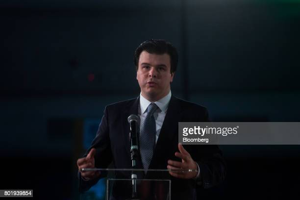 Fernando Coelho Filho Brazil's minister of mines and energy speaks during the UNICA Ethanol Summit 2017 in Sao Paulo Brazil on Monday June 26 2017...