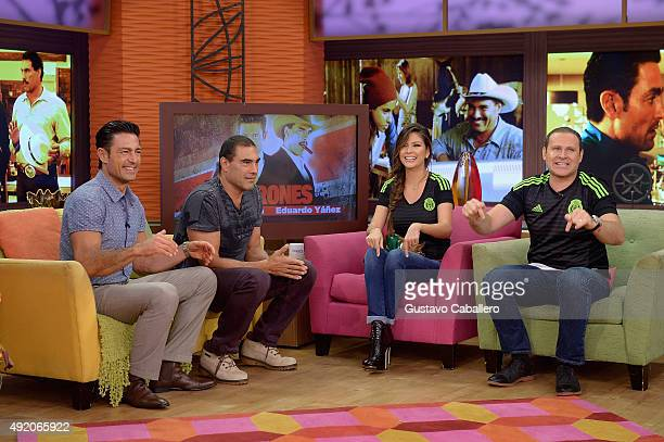 Fernando Colunga Eduardo Yanez Ana Patricia Gamez and Alan Tacher are seen on the set of 'Despierta America' to promote the film 'Ladrones' at...