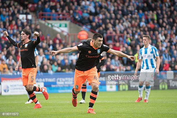 Fernando Forestieri of Sheffield Wednesday celebrates after scoreing a penalty during the Sky Bet Championship match between Huddersfield Town and...