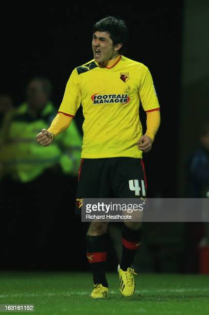 Fernando Forestieri of Watford celebrates victory after the npower Championship match between Watford and Sheffield Wednesday at Vicarage Road on...