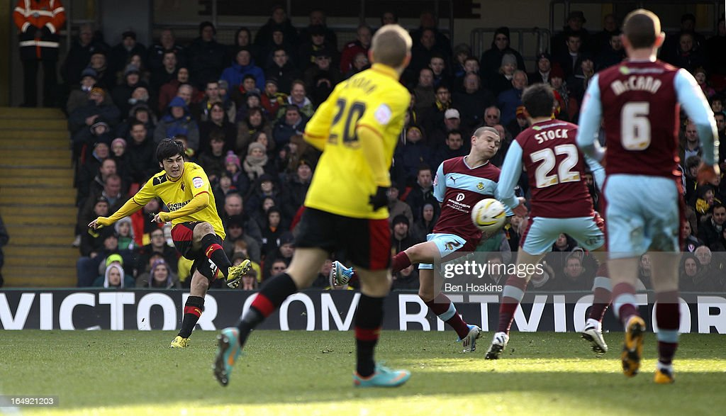 <a gi-track='captionPersonalityLinkClicked' href=/galleries/search?phrase=Fernando+Forestieri&family=editorial&specificpeople=5443110 ng-click='$event.stopPropagation()'>Fernando Forestieri</a> of Watford scores his team's third goal of the game during the npower Championship match between Watford and Burnley at Vicarage Road on March 29, 2013 in Watford, England.