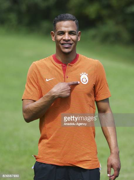 Fernando Francisco Reges of Galatasaray poses for a photo after a press conference ahead of a practice match between Galatasaray and Hertha Berlin in...