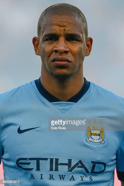 Fernando Francisco Reges of Manchester City stands for introductions before the game against Sporting KC on July 23rd at Sporting Park in Kansas City...