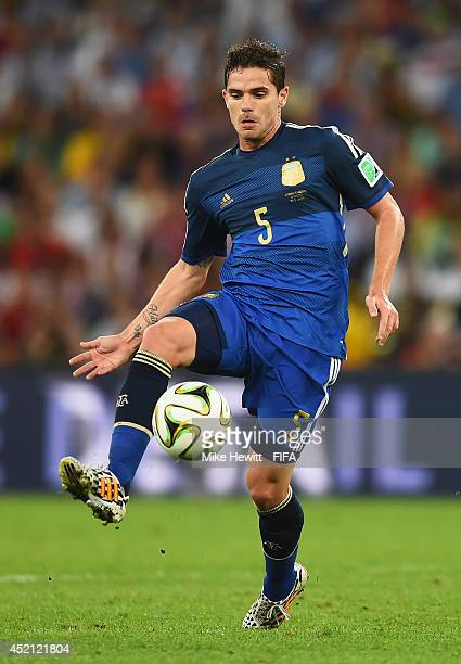 Fernando Gago of Argentina in action during the 2014 FIFA World Cup Brazil Final match between Germany and Argentina at Maracana on July 13 2014 in...