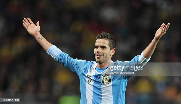 Fernando Gago of Argentina in action during the International Friendly match between Sweden and Argentina at the Friends Arena on February 6 2013 in...