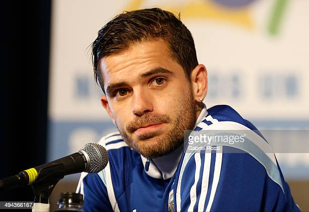 Fernando Gago of Argentina looks on during a press conference at Ezeiza Training Camp on May 28 2014 in Ezeiza Argentina