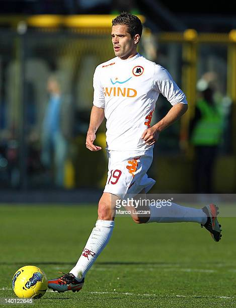 Fernando Gago of AS Roma in action during the Serie A match between Atalanta BC and AS Roma at Stadio Atleti Azzurri d'Italia on February 26 2012 in...